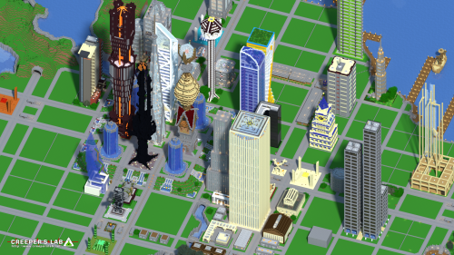 Minetropolis with a view reminiscent of SimCity 4, seen in October 2018