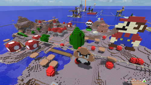 The Mushroom Kingdom, built by WindRider739, Doctacosa, Sphenicus and others, seen in September 2014